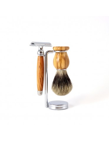 3-part Set Security Razor / Olive Wood