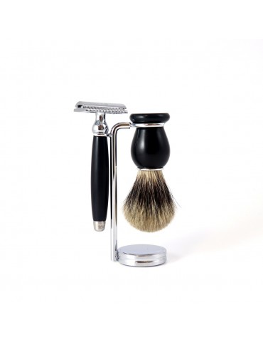 3-part Set Security Razor / Ebony Wood