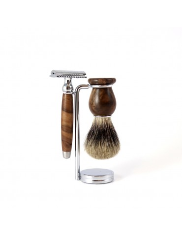3-part Set Security Razor / Burr Walnut