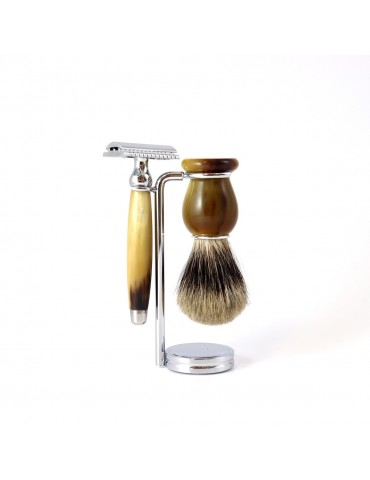 3-part Set Security Razor / Marbled Horn