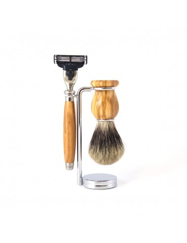 3-part Set Mach3® Razor / Olive Wood