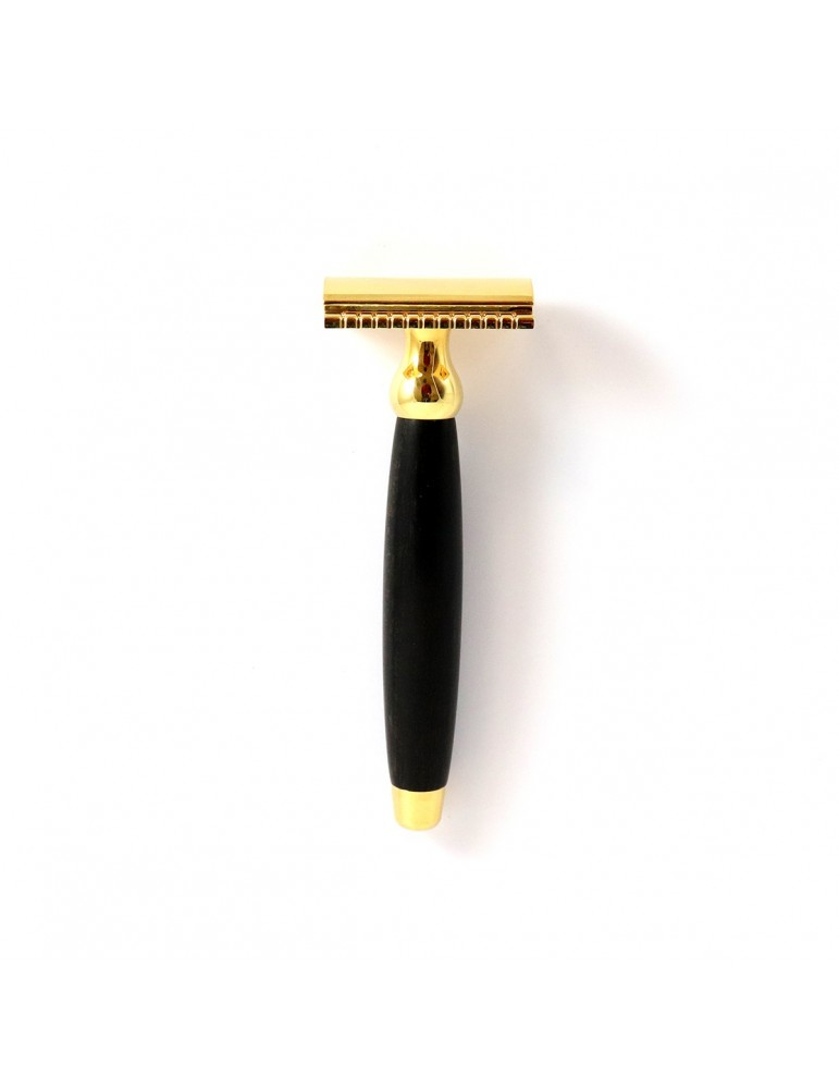 Safety Razor / Ebony Wood & Gold 24 Carats