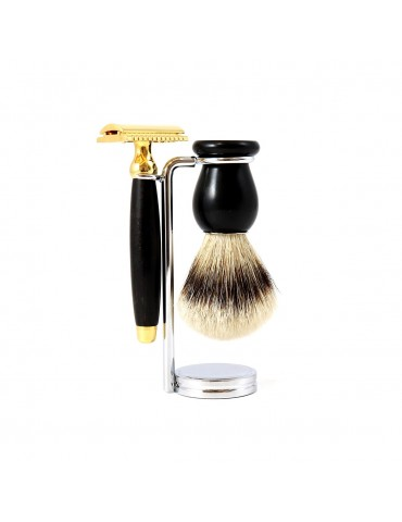 3-part Set Security Razor / Ebony Wood & Gold 24 Carats