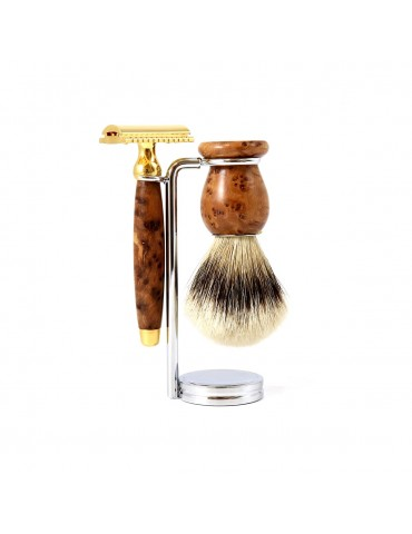 3-part Set Security Razor / Thuja Wood & Gold 24 Carats