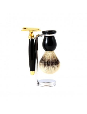 3-part Set Security Razor / Black Horn & Gold 24 Carats