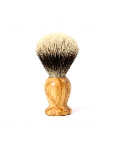 Shaving Brush / Olive Wood / White European