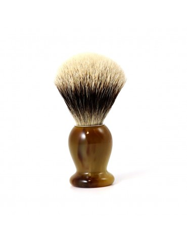 Shaving Brush / Marbled Horn / White European