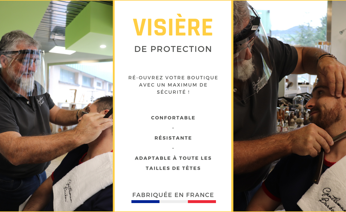 Banniere visiere de protection fabriquée en france - gentleman barbier visiere confortable